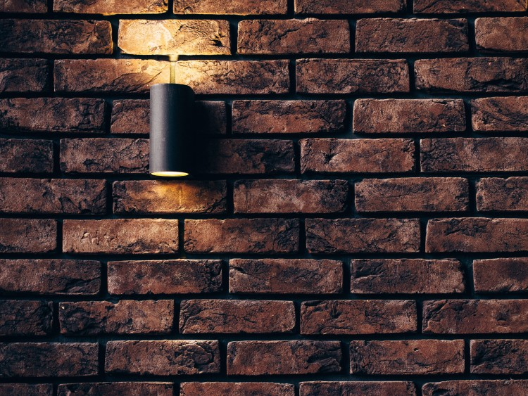 light on brick
